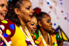 Brazilian Carnival. Parade of the Ita Lions samba school on the avenue in Ilhabela, Brazil, 02/28/2017. Artistic photo with select. Ive focus and background blur Royalty Free Stock Photos