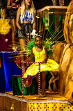 Brazilian Carnival. Parade of the Ita Lions samba school on the avenue in Ilhabela, Brazil, 02/28/2017. Artistic photo with select. Ive focus and background blur Royalty Free Stock Photo