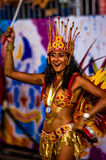 Brazilian Carnival. Parade of the Ita Lions samba school on the avenue in Ilhabela, Brazil, 02/28/2017. Artistic photo with select Royalty Free Stock Photography