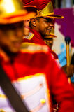 Brazilian Carnival. Parade of the Ita Lions samba school on the avenue in Ilhabela, Brazil, 02/28/2017. Artistic photo with select Stock Image