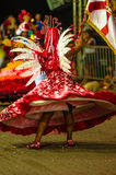 Brazilian Carnival. Parade of the Ita Lions samba school on the avenue in Ilhabela, Brazil, 02/28/2017. Artistic photo with select. Ive focus and background blur Stock Photo