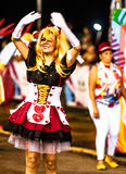 Brazilian Carnival. Parade of the Ita Lions samba school on the avenue in Ilhabela, Brazil, 02/28/2017. Artistic photo with select. Ive focus and background blur Royalty Free Stock Image