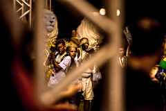 Brazilian Carnival. Parade of the Ita Lions samba school on the avenue in Ilhabela, Brazil, 02/28/2017. Artistic photo with select Royalty Free Stock Photo
