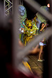 Brazilian Carnival. Parade of the Ita Lions samba school on the avenue in Ilhabela, Brazil, 02/28/2017. Artistic photo with select. Ive focus and background blur Stock Images