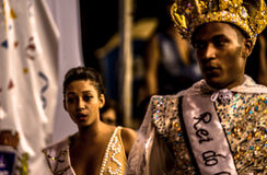 Brazilian Carnival. Parade of the Ita Lions samba school on the avenue in Ilhabela, Brazil, 02/28/2017. Artistic photo with select Royalty Free Stock Image