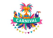 Brazilian Carnival poster, banner with colorful party elements - masks, confetti, toucan, parrot and splashes. Festival concept design Royalty Free Stock Image
