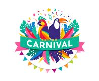 Brazilian Carnival poster, banner with colorful party elements - masks, confetti, toucan, parrot and splashes. Festival concept design Royalty Free Stock Photos