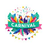 Brazilian Carnival poster, banner with colorful party elements - masks, confetti, toucan, parrot and splashes. Festival concept design Royalty Free Stock Photography
