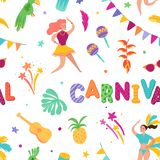 Brazilian Carnival Seamless Pattern. Brazil Samba Dancer Characters Carnival. Rio de Janeiro Festival with Girls. In Festive Costumes. Vector illustration royalty free illustration