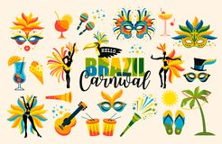 Brazilian Carnival. Set of icons. Vector. Brazilian Carnival. Big set of vector icons. Design elements Royalty Free Stock Photos