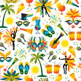 Brazilian Carnival. Vector seamless pattern. Design elements Royalty Free Stock Images