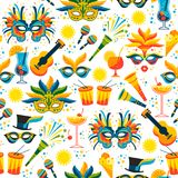 Brazilian Carnival. Vector seamless pattern. Design elements Stock Images