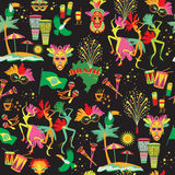 Brazilian Carnival. Vector seamless pattern. Royalty Free Stock Photos