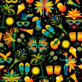 Brazilian Carnival. Vector seamless pattern. Design elements Stock Photo
