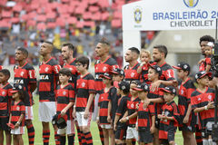 Brazilian championship 2016. Rio de Janeiro, Brazil - october 23, 2016: teams during the national anthens in match between Flamengo and Corinthians by the Stock Photo