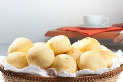 Brazilian Cheese Bread. Pao de Queijo. With coffee Royalty Free Stock Image