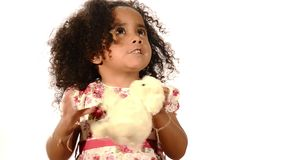 Brazilian child with her soft toy stock footage