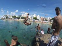 Brazilian Children Diving Salvador Brazil Royalty Free Stock Photos