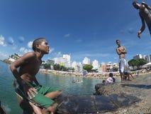 Brazilian Children Diving Salvador Brazil Stock Photo