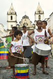 Brazilian Children Drumming Pelourinho Salvador stock photo