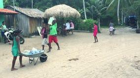 Brazilian Children Fetch Water in Bahia Village stock video footage