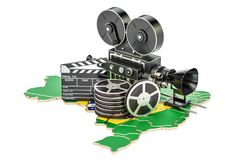 Brazilian cinematography, film industry concept. 3D rendering. Isolated on white background Stock Photography