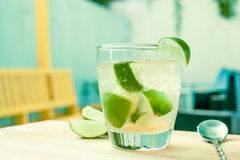 Brazilian cocktail with brandy. Brown sugar, lime and soda Stock Images