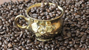 Brazilian coffee beans. Gold cup brazilian coffee beans stock footage
