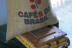 Brazilian coffee sack Stock Images