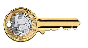 Brazilian coin key Stock Image