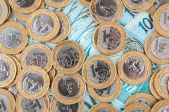 Brazilian coins and bank notes Stock Image