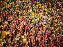 Brazilian and Colombian football fans Royalty Free Stock Image