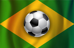 Brazilian country flag with soccer  ball  Royalty Free Stock Images