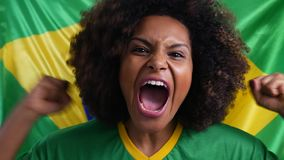 Brazilian couple fan celebrating with the Brazilian flag stock video