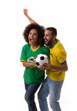 Brazilian couple of fans celebrate on white background Stock Photo