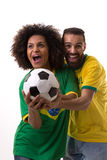 Brazilian couple of fans celebrate on white background Stock Image