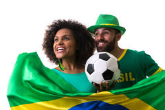 Brazilian couple of fans celebrate on white background Royalty Free Stock Photo