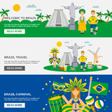 Brazilian Culture 3 Flat Banners Set Royalty Free Stock Photography
