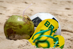 Brazilian culture: Summer, beach and soccer Stock Image