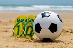 Brazilian culture: Summer, beach and soccer Royalty Free Stock Image