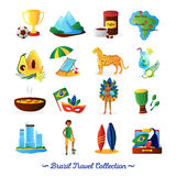 Brazilian Culture  Symbols Flat Icons Set. Brazilian culture food and traditions for travelers with country map flat icons collection abstract vector Royalty Free Stock Image