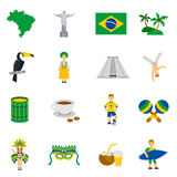 Brazilian Culture Symbols Flat Icons Set Royalty Free Stock Photos