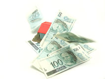 Brazilian currency. Rain of brazilian hundreds currency stock photo