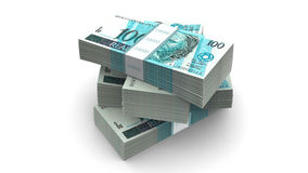 Brazilian currency pack (with clipping path). Brazilian currency bills packs on stack Stock Photography