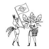 Brazilian dancers couple waving flag character. Vector illustration design royalty free illustration