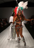 Brazilian dancers perform on the runway during the CA-RIO-CA fashion show Stock Photos