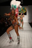 Brazilian dancers perform on the runway during the CA-RIO-CA fashion show Royalty Free Stock Image