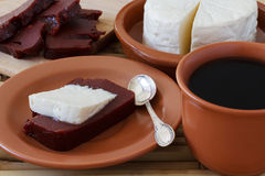 Brazilian dessert Romeo and Juliet, goiabada, Minas cheese Stock Images