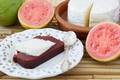 Brazilian dessert Romeo and Juliet, goiabada, Minas cheese Stock Photo