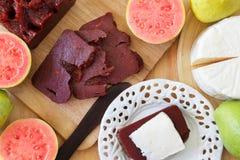 Brazilian dessert Romeo and Juliet, goiabada, Minas cheese Royalty Free Stock Photos